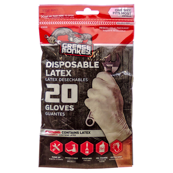 Gloves Grease Monkey Disposable Latex 20 Count