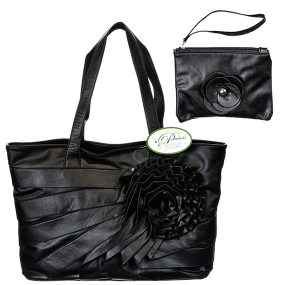 Tote Large w/Wristlet Parinda June Faux Leather w/Flower Blk