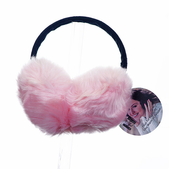 Oversized Ear Muffs - Pink - Faux Fur CS PK 36