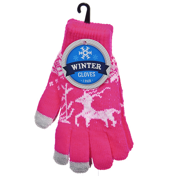 Winter Gloves One Size Ladies Poly-Spandex Asst H