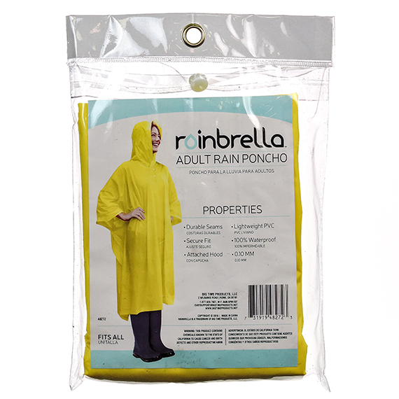 Adult Yellow Rain Poncho Fits All