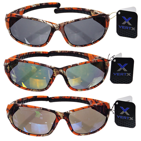 Mens Sports Driving Glasses Orange Camo Tinted Lens - 4 Asst