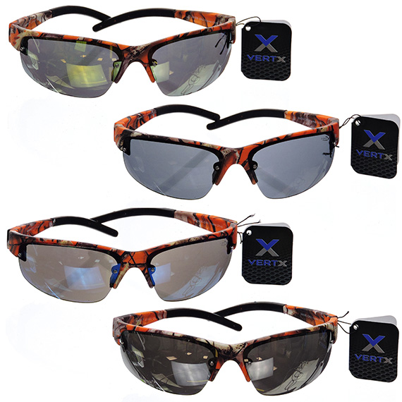 Men Sports Glasses Orange Camo Frames Tinted Frames - 4 Asst