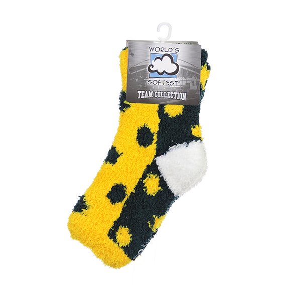 WSTMQTR Os Green/Gold/Wht Fuzzy Sock