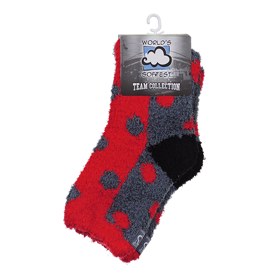 WSTMQTR Os Red/Char/Blk Fuzzy Sock