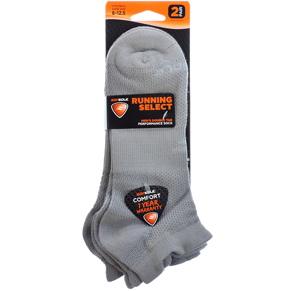 Socks Men Running Select Gray 2pk Sz 8 - 12.5