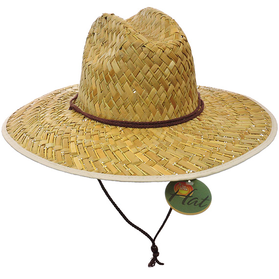 Organic Straw Hat White Rim