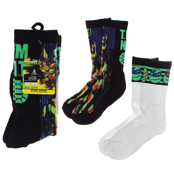 Kid Sport Socks Large Ninja Turtles 2 Pack