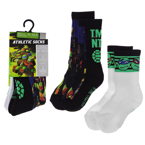 Kid Athletic Socks Small Ninja Turtles 2 Pack
