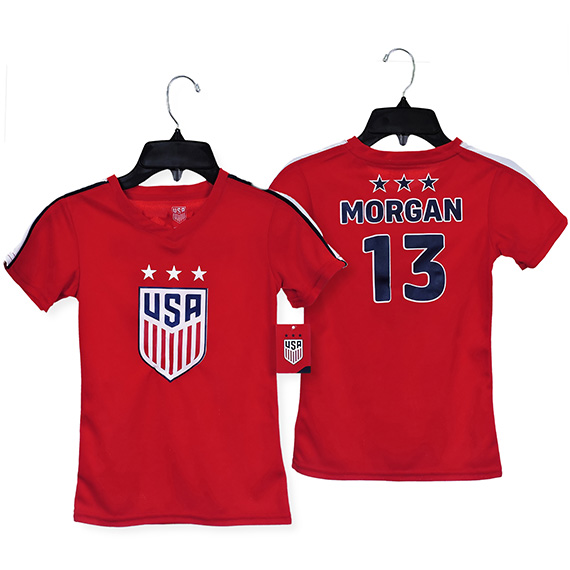 US Soccer Girls Jersey Polyester Mesh 135 G Red S/M/L/XL