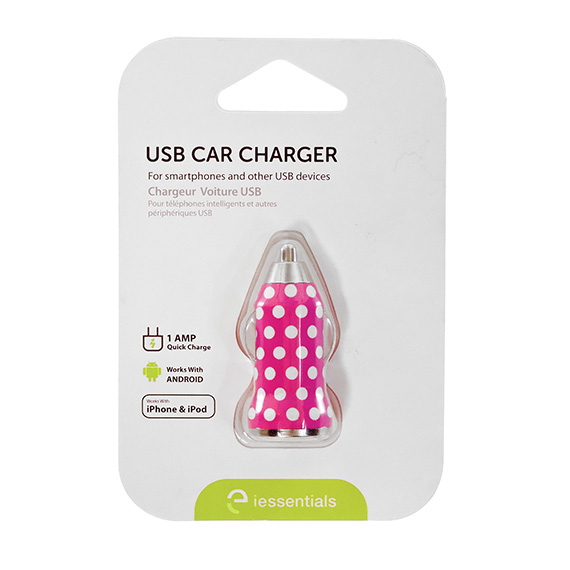 Charger Car Single USB Pink with Polka Dots