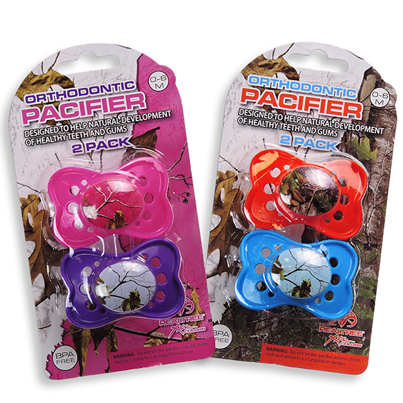 Realtree Pink 2 Pk Orthodontic Pacifier 2 Asst