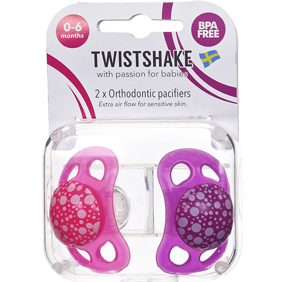Twistshake 2X Pacifier Pink Purple 0-6M