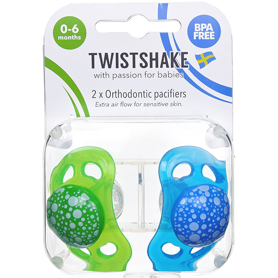 Twistshake 2X Pacifier Blue Green 0-6M