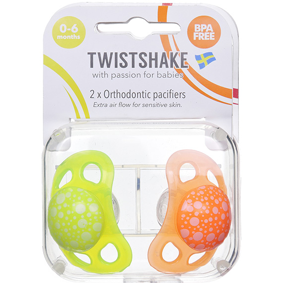 Twistshake 2X Pacifier Orange Yellow 0-6M