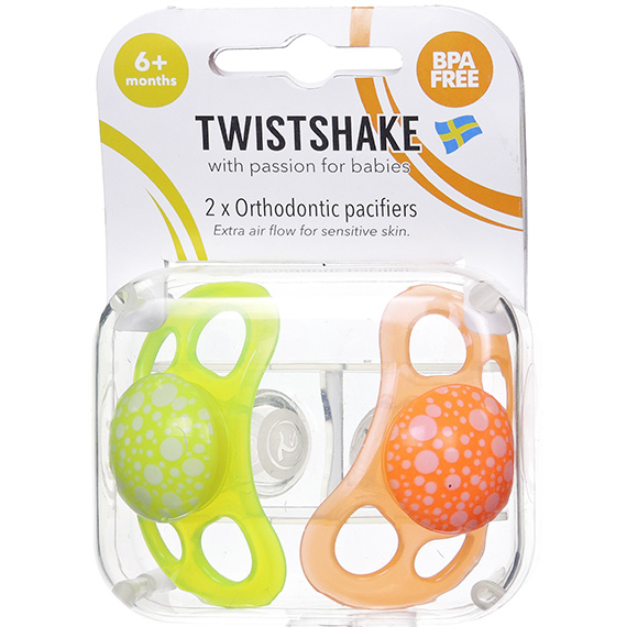 Twistshake 2X Pacifier Orange Yellow 6+M