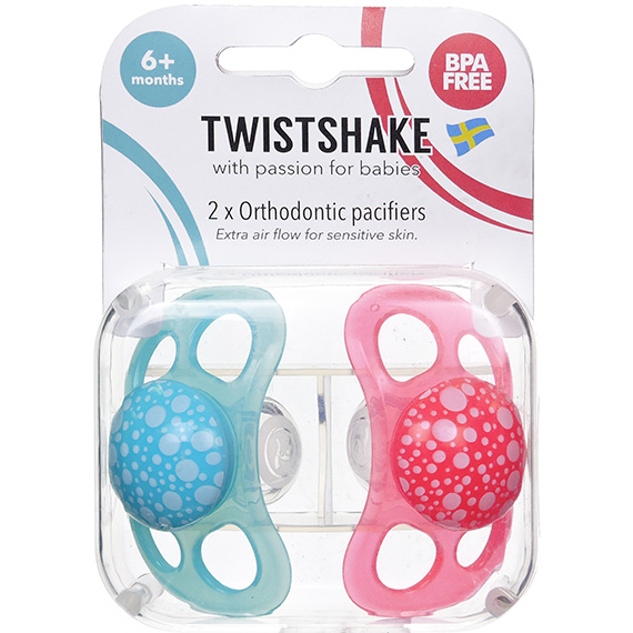 Twistshake 2X Pacifier Peach Turquoise 6+M