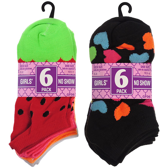 Socks No Show Girls 6pk Assorted Size 10.5 - 4