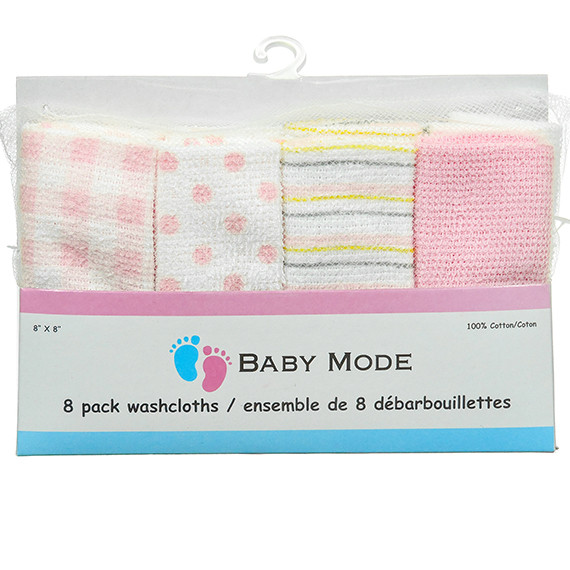 8 Pk Washcloth Pink 8