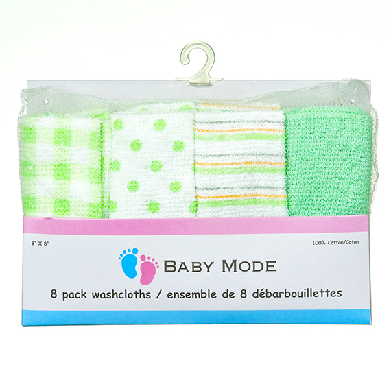8 Pk Washcloth Green 8