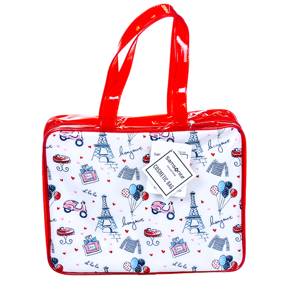 Cosmetic Bag - Hanging Overnighter - Paris Motif - Red/Wht