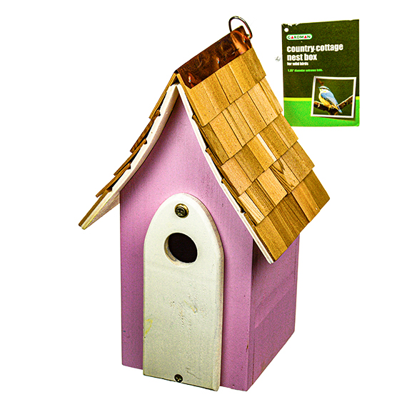 Nest Box for Wild Birds - Country Cottage Pink