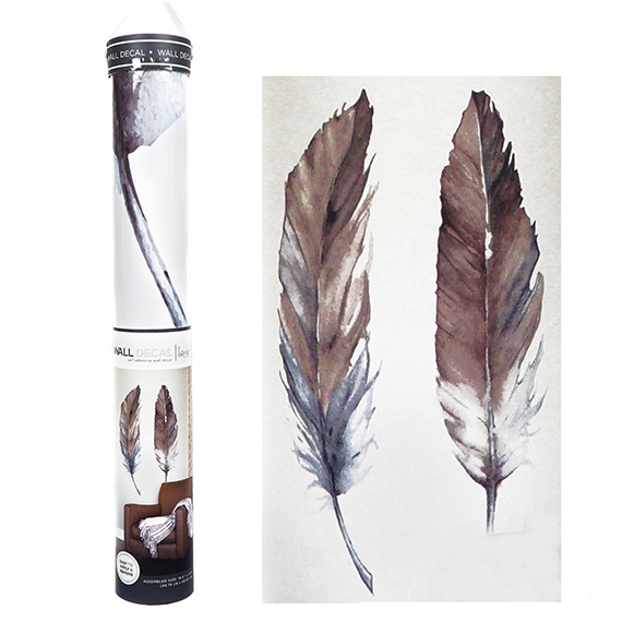 Watercolor Feathers Decal Self-Adhesive Wall Art 20x28
