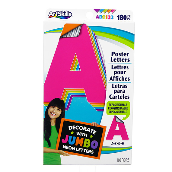 180 Pc Jumbo Neon Poster Letters - Tri-Lingual