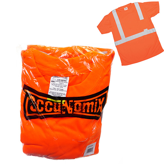 ANSI T-Shirt w/Pocket - Reflective Tape - Orange - Sz 2X