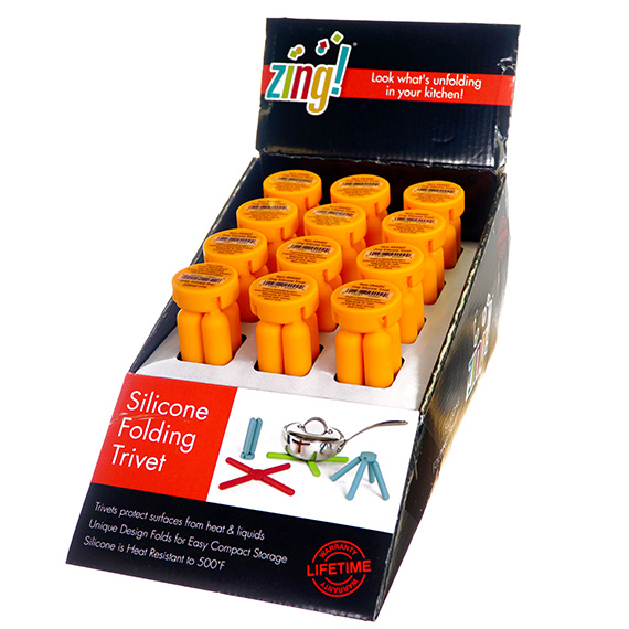 Silicone Folding Trivet in a Display - Orange