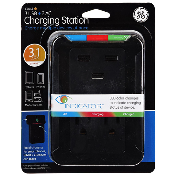 Ge Charging Station - 3 Usb Ports - 2 Outlet - 3.1A