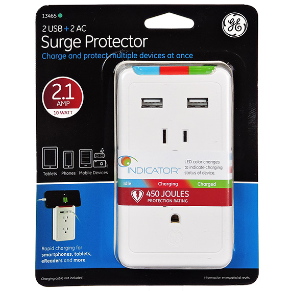 Ge Surge Protector - 2 Outlet Tap - 2 Usb Ports 2.1A