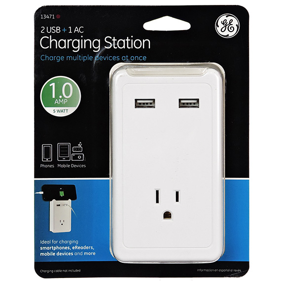 Ge Charging Station - 2 Usb Ports - 1 Outlet 1A