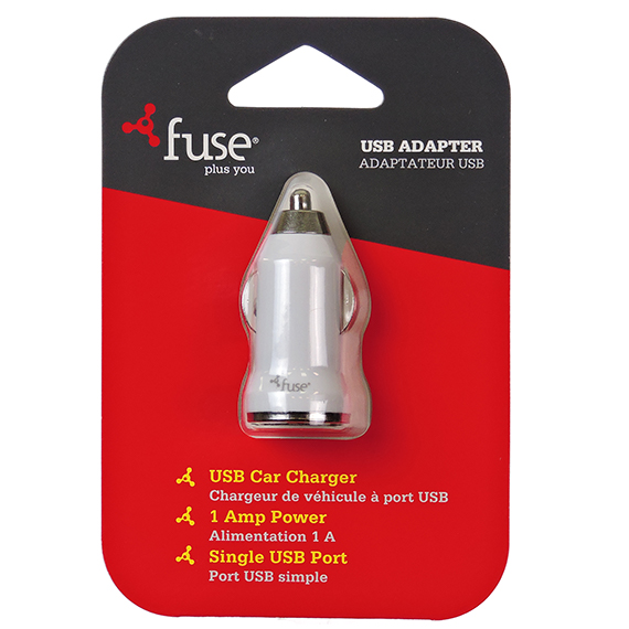 Fuse Brand Car Charger 1A Single Usb Port – White