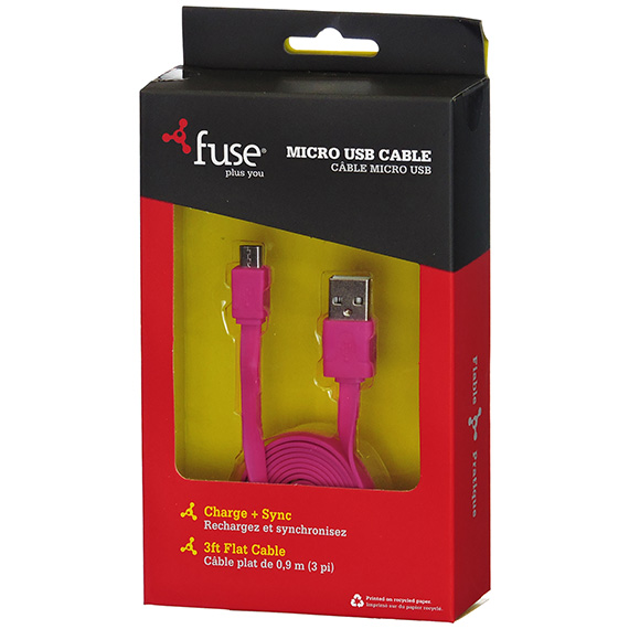 Sync Cable USB To Micro Flat Cable Pink