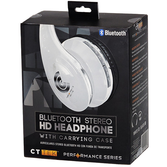 Bluetooth Stereo HD Headphones With Case Asst Black or White