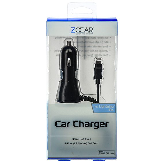 Car Charger for iPod and iPhone - 1 Amp, 6 foot, Black
