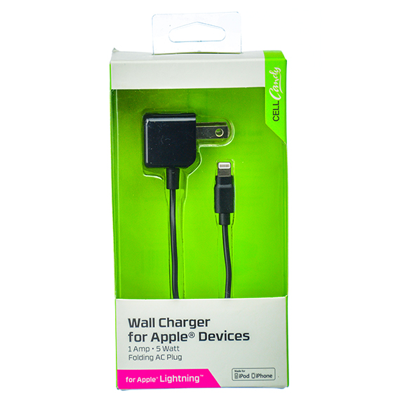 Wall Charger for Apple Devices - 1 Amp, 5 foot, Black