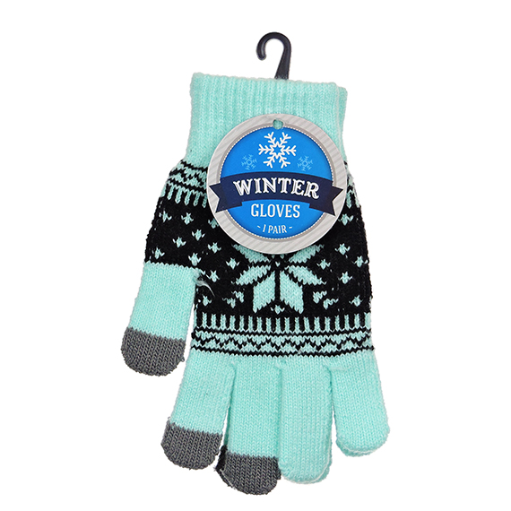 Winter Gloves One Size Ladies Poly-Spandex Asst G