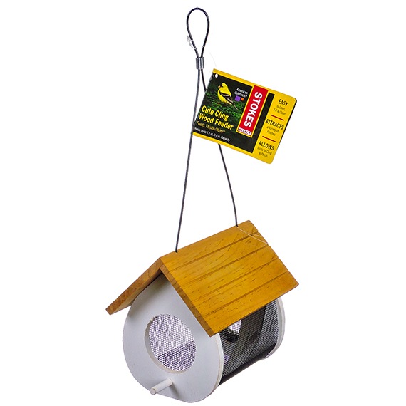 Cute Cling Wood Bird Feeder - Feeds Thistle 1 Lb Capacity