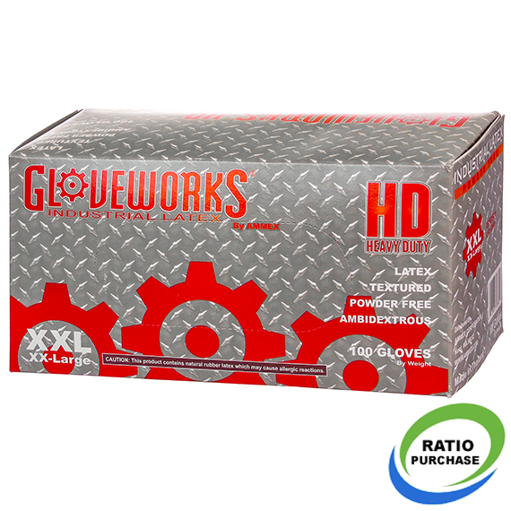 Gloveworks Industrial Grade Hd Latex Gloves 2Xlarge 100 Pk