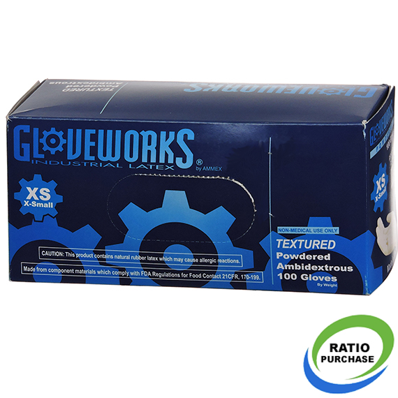 Gloveworks Industrial Grade Pwdrd Latex Gloves Xsmall 100 Pk