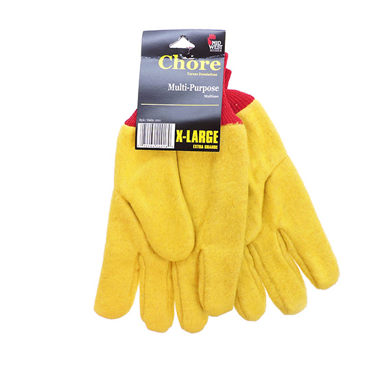 Glove Yellow Chore 3 Asst Sizes