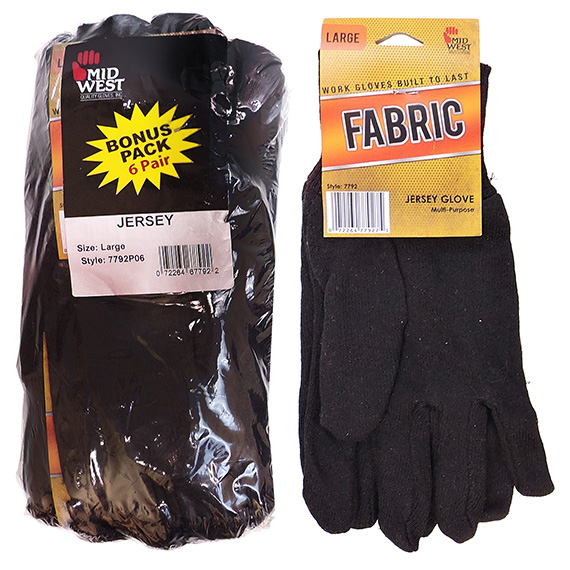 Glove Brown Jersey 6 Pk Tagged