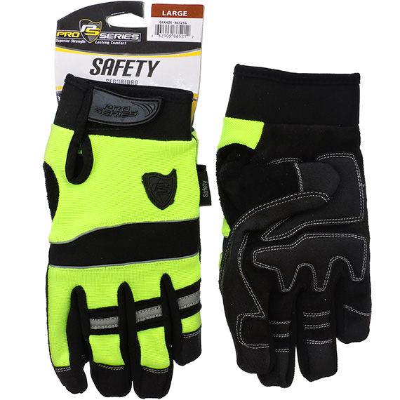 Glove Safety Green Synthetic Leather LG