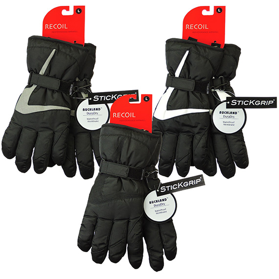 Mens Waterproof Glove With Adjustable Wrist Strap Asst Sizes