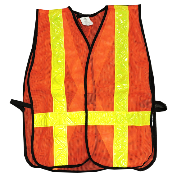 Orange Reflective Mesh Hook Loop Vest XL