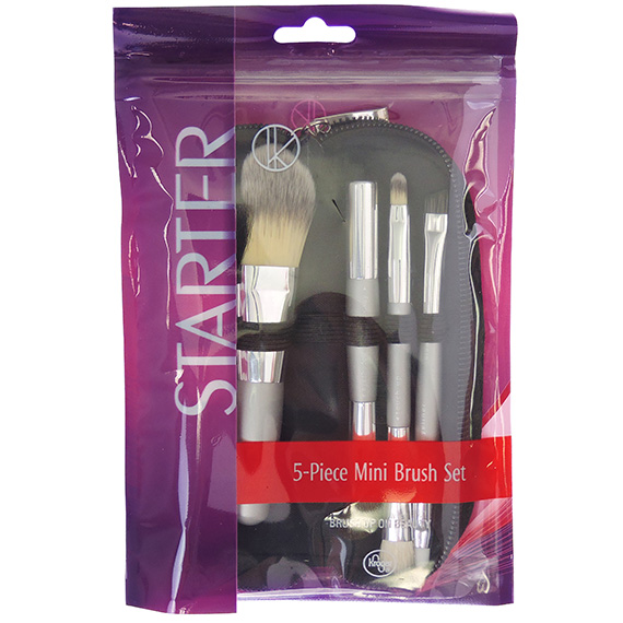 Mini Cosmetic Application Brush Set With Travel Case 5 Piece