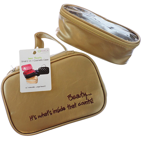 Cosmetic Case 'Its Whats Inside That Counts' 2pc Gold