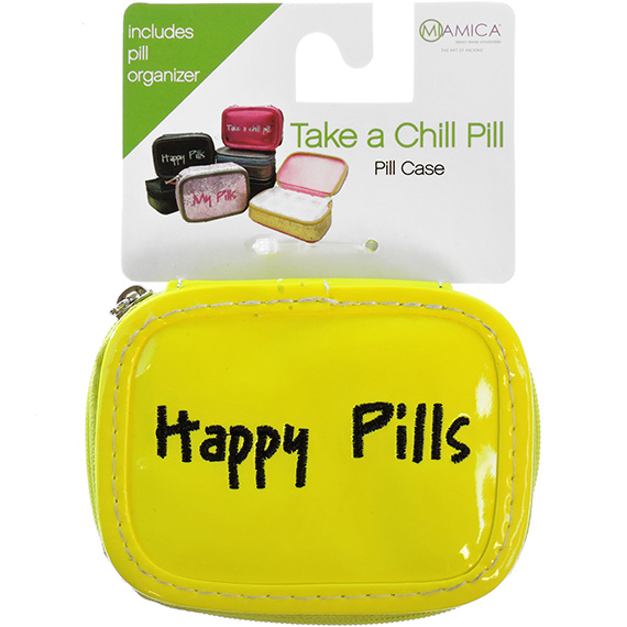 Pill Case Neon Yellow Happy Pills